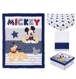 Disney Mickey Pluto Baby Bed Crib Bedding Set 4 Piece Comforter, Fitted Sheet, Crib Skirt & Keepsake Box Kids Toddler Bed New! for Sale in Reidsville, NC
