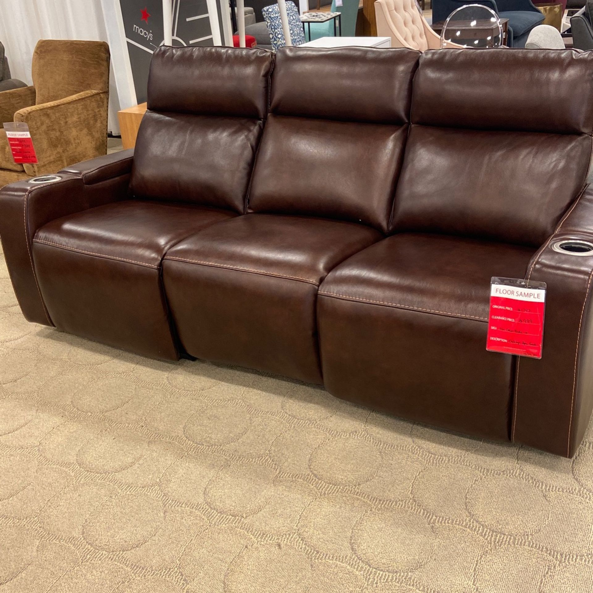 Leather Power 3 Recliner With Cup Holders Browm