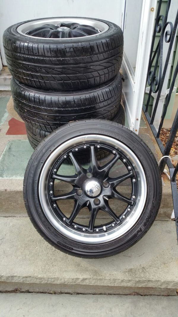 4 rims with 4 lug nuts and tires for sale 16 inch rims tires 205 45 r16 for sale in randolph. Black Bedroom Furniture Sets. Home Design Ideas
