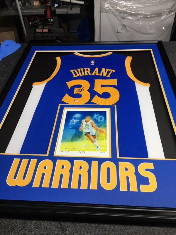 b233e959d78 Kevin Durant Golden State Warriors jersey autographed custom framed Beckett  COA