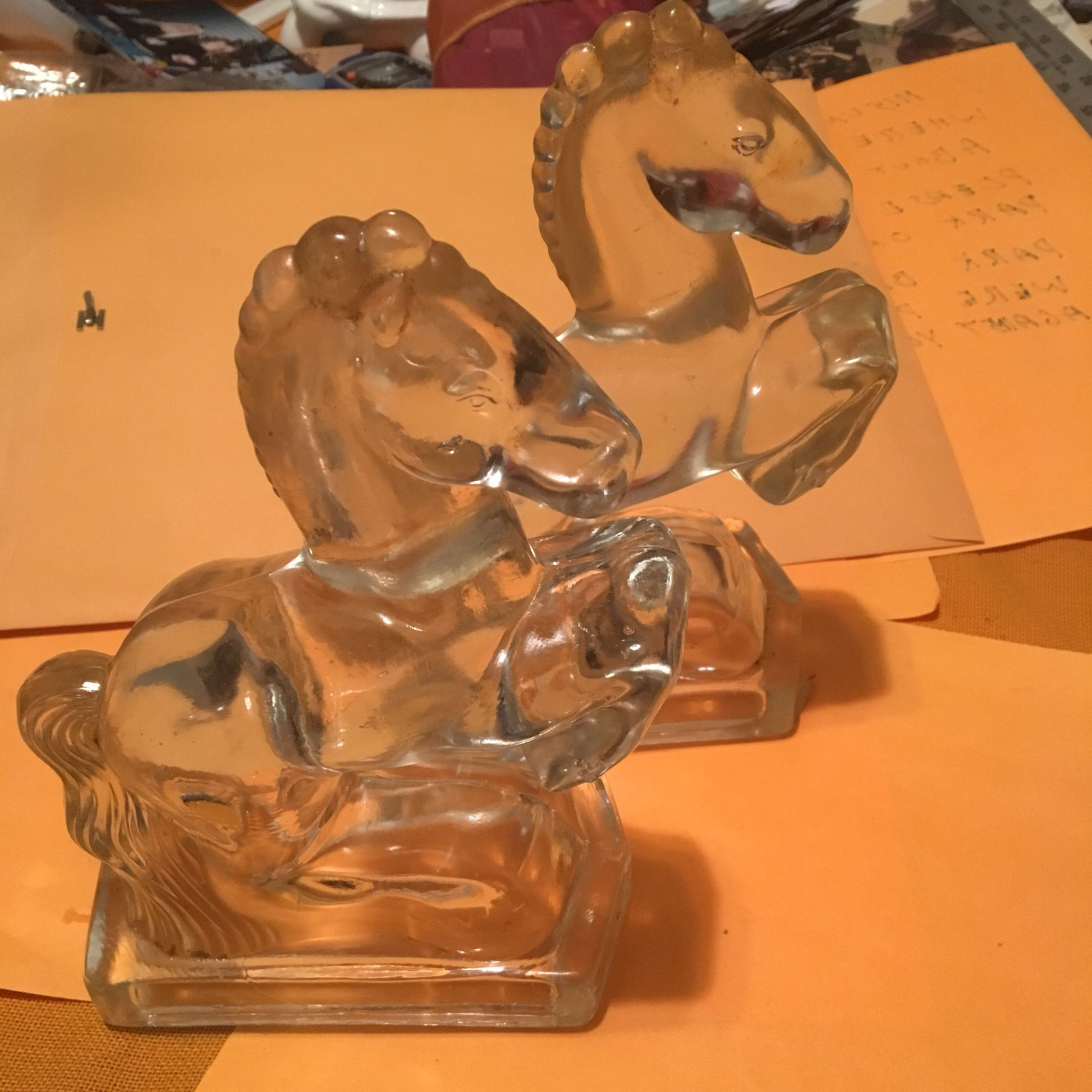 """Two heavy glass horse bookends 8"""" tall"""