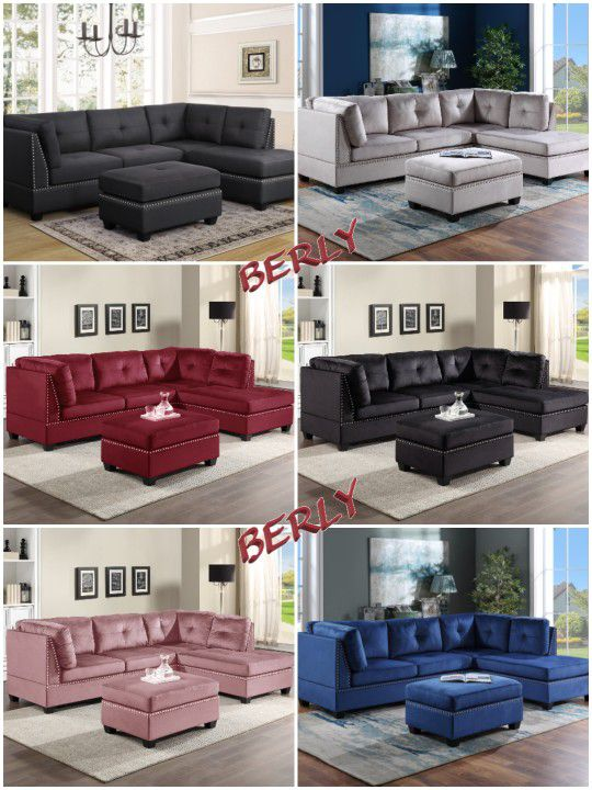 Pink Velvet Sectional With Ottoman 813