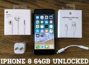 Iphone 8 UNLOCKED 64GB w/ Apple Warranty (Like New) Black for Sale in Arlington, VA