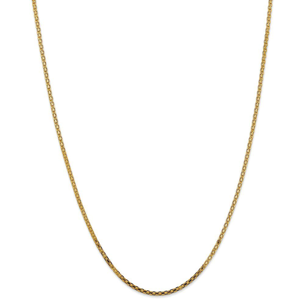 14K Yellow Gold 2mm Lightweight Handmade Flat Chain