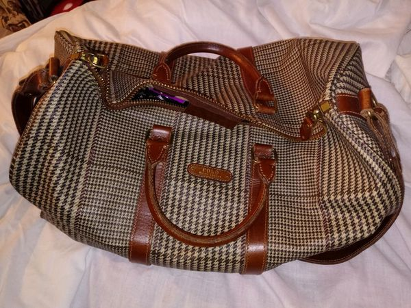 7aa011cdc13a Polo Ralph Lauren Men s brown plaid Canvas Leather duffle bag in good  condition
