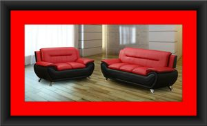 Red/black sofa and love seat 2pc set free delivery for Sale in Potomac, MD