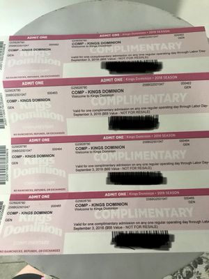 4 adult tickets to Kings Dominion for Sale in Rockville, MD