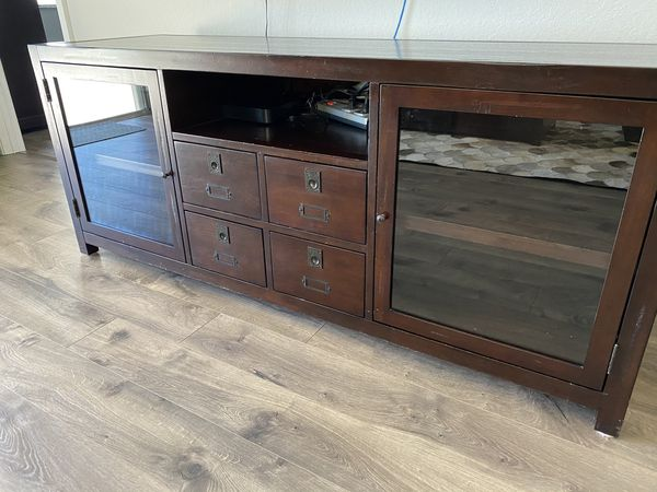 Pottery Barn Media Console With 4 Drawers And 2 Glass