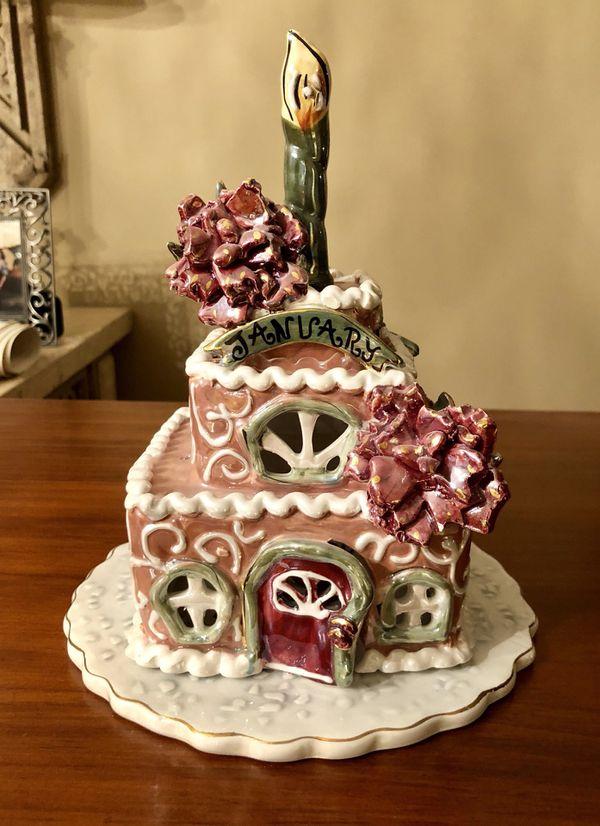 Blue Sky Clayworks Birthday Cake Tea Light For Sale In Boca Raton