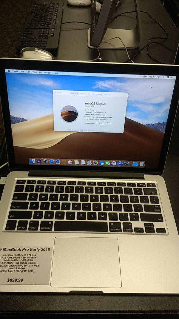 Apple MacBook Pro early 2015 I5 8GB Ram 512gb SSD Mojave for Sale in  Richfield, MN - OfferUp
