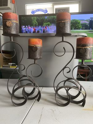 """Photo Dual 12"""" Iron Candle Holders with Candles"""