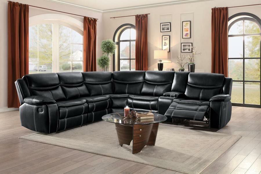 Bastrop Black Leather Gel Match Reclining Sectional. FINANCE AVAILABLE
