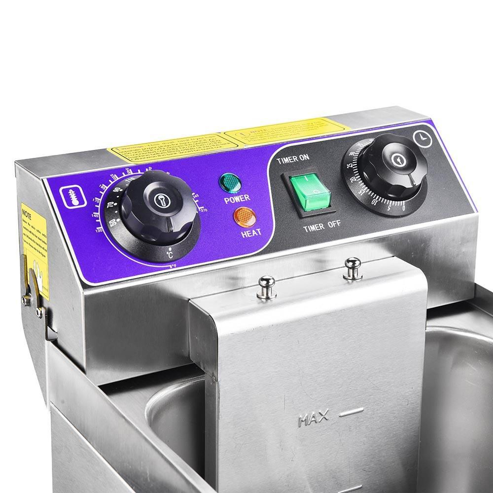 10L Electric Deep Fryer with Drain Stainless Steel French Fries Fried Chicken Wings