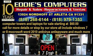 Computer towers for sale starting at $60 for Sale in Los Angeles, CA