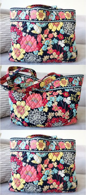 Photo Large Vera Bradley Floral Boho Quilted Tote Bag Purse