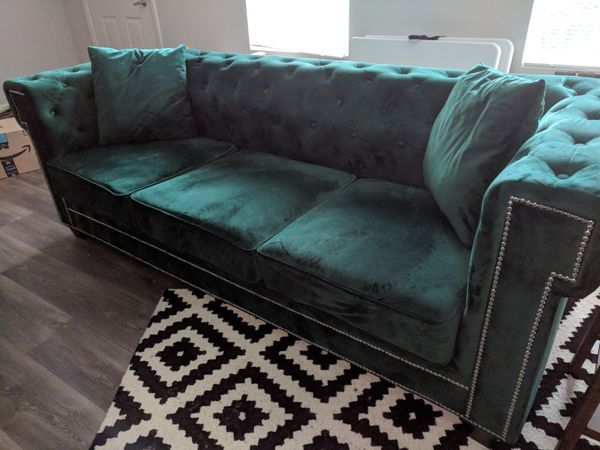 Green Velvet Sofa Couch For Sale In Salem Ma Offerup
