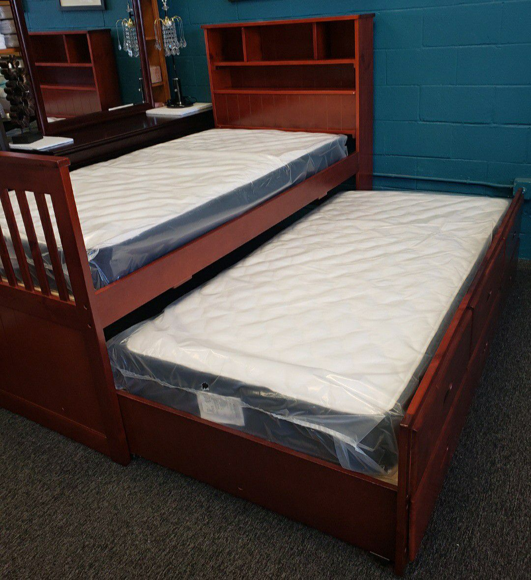 NEW TWIN/TWIN BED w/ DRAWERS AND INCLUDED