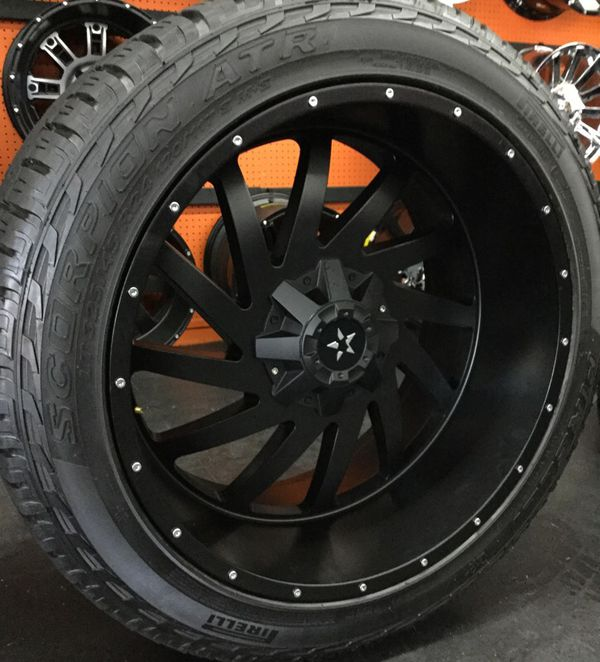 24 Inch Dfd Off Road Wheels And Tires Fits Chevy And Ford 6 Lug
