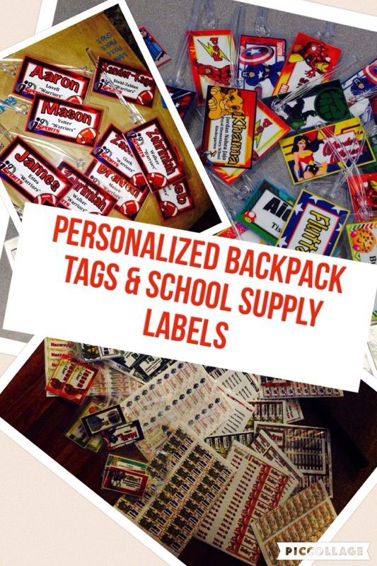 Personalized backpack tags and school supply labels!