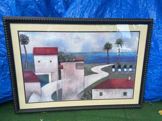 """Picture frame, beautiful piece, new, """"Flamingo"""" Very Caribean, meas. 31 x3720 Only $20 -picture Frame beautiful piece wooden frame, a very relax view, Thumbnail"""