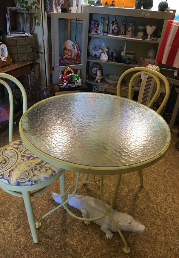 Glass Top Bistro Table With 2 Wooden Chairs 29 Diameter Tall Furniture In Avon Oh Offerup