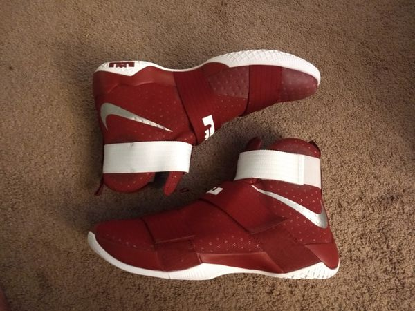 2dea887a396 Nike Lebron Soldier 10 TB Promo Size 17 Team Rd Mtlc Silver White 856489 662  for Sale in Vineland