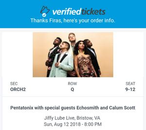 #### Pentatonix 2 TIX TONIGHT MIDDLE ORCHESTRA ROW Q - AMAZING!! for Sale in Arlington, VA