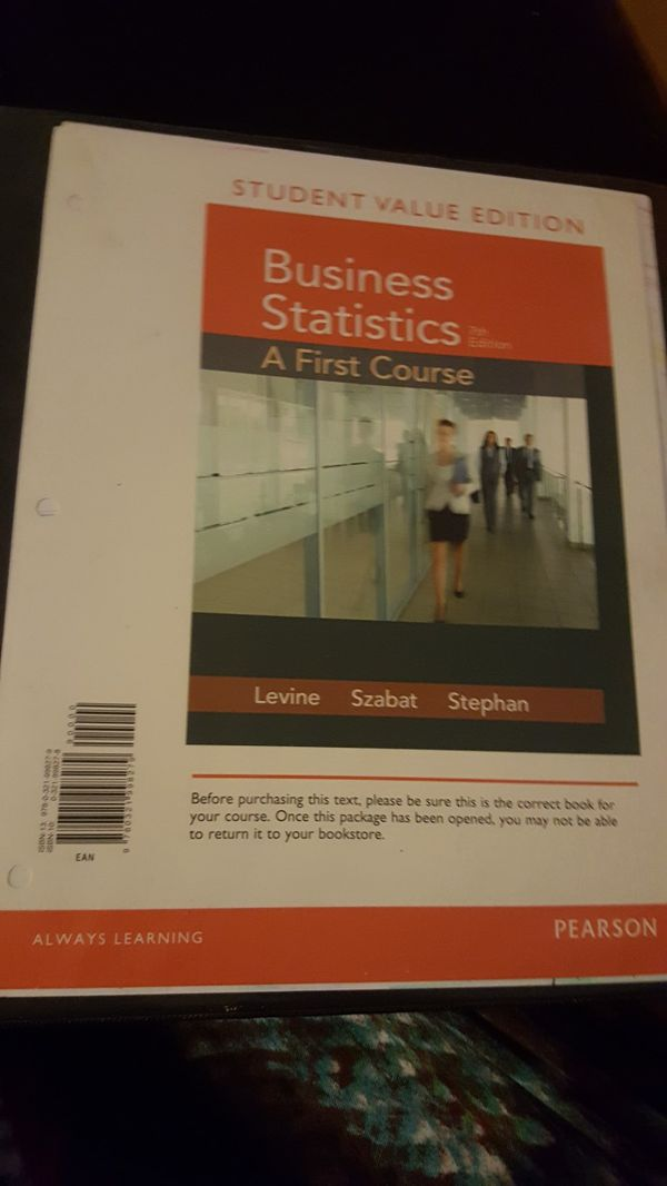 Business Statistics: A First Course (7th Edition) for Sale in Seattle, WA -  OfferUp