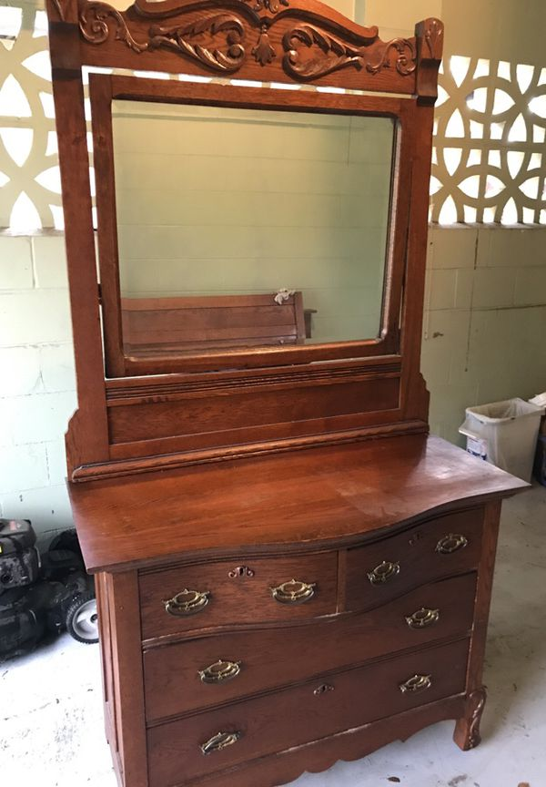 Antique Oak Dresser With Mirror And Double Bed For Sale In Orlando