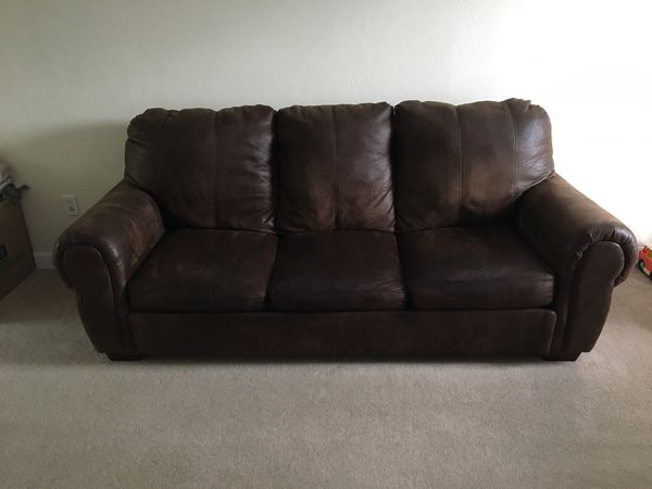 Brown Leather Couch Pull Out Bed