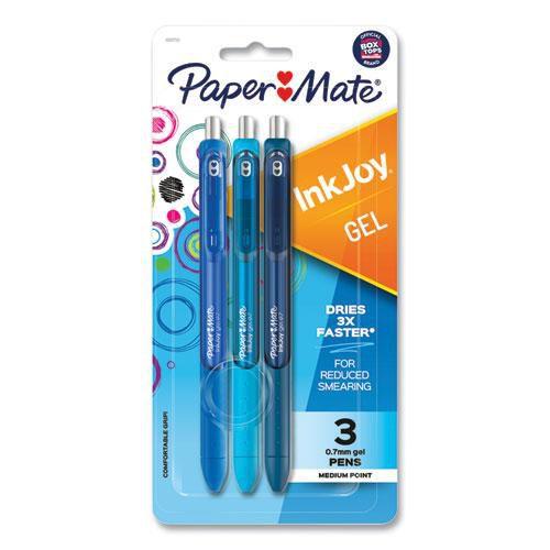 Inkjoy Gel Pen Retractable Medium 0.7 Mm Blue Ink Blue Barrel 3/Pack | 1 Pack of: 3