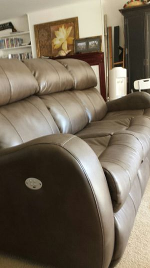 Remote Control Brown Leather Couch for Sale in Fairfax, VA