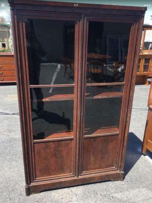 Antique Wooden Gl Door Book Case Skeleton Key Lock No For In