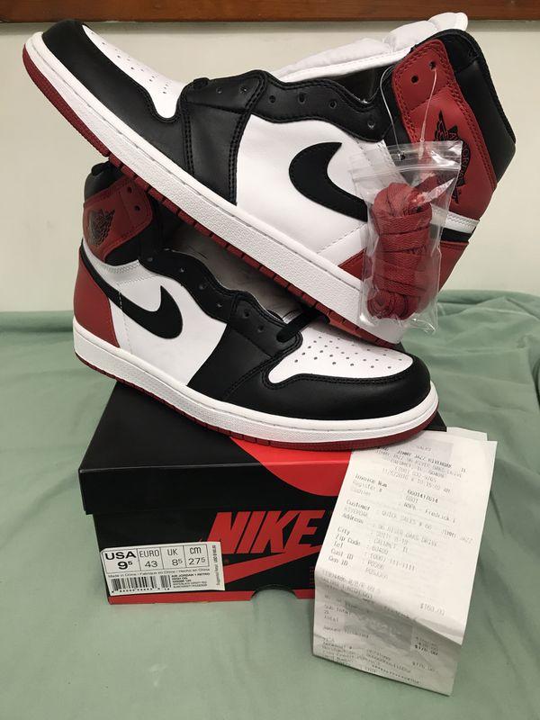 Nike Air Jordan 1 Black Toe 2016 Retro High OG W Receipt 555088-125 DS SZ  9.5 for Sale in Lansing e1ef98a6b