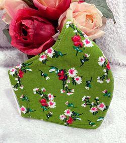 Women/Junior Girl green floral handmade face mask Thumbnail
