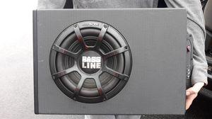 Photo Alpine Bassline 10 speaker in box with Alpine amp