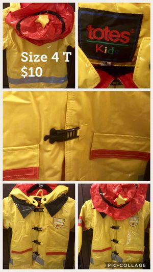 Firefighter Rain Coat Toddler Boy Size 4T Kids Clothes for Sale in Alexandria, VA