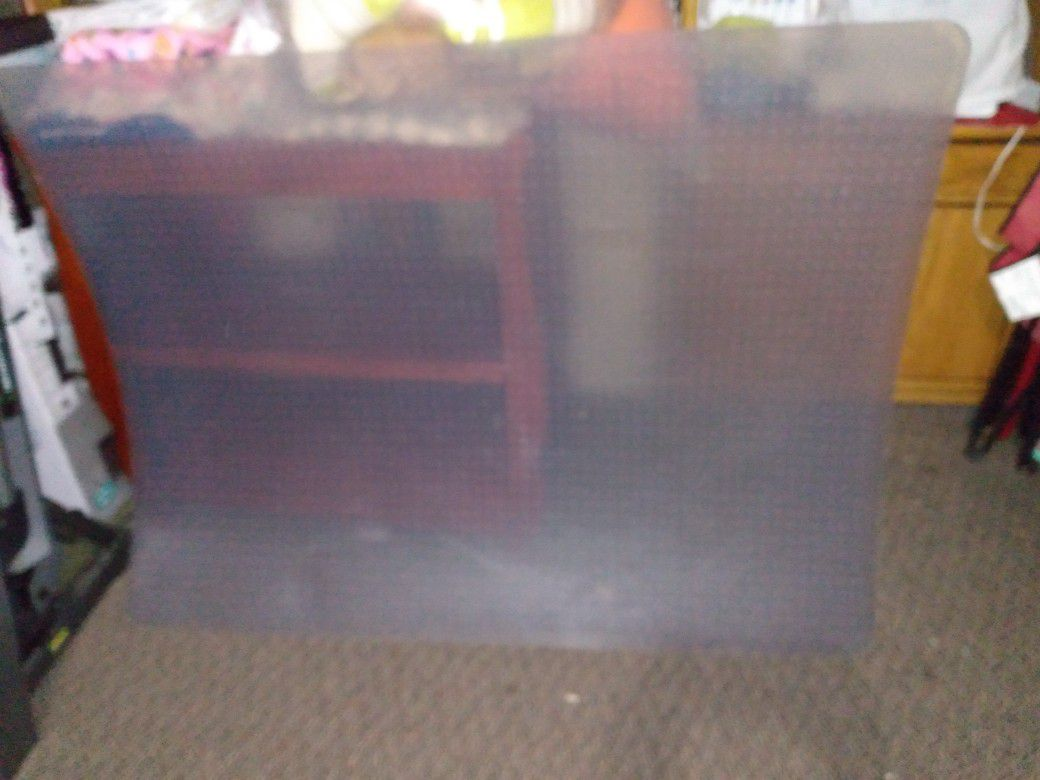 """Clear Office Mat 59""""by 46"""" In Good Condition."""