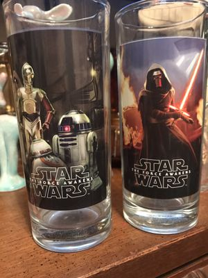 Collectable Vintage STAR WARS 'The Force Awakens' highball glasses. Signed (R). for Sale in Los Angeles, CA