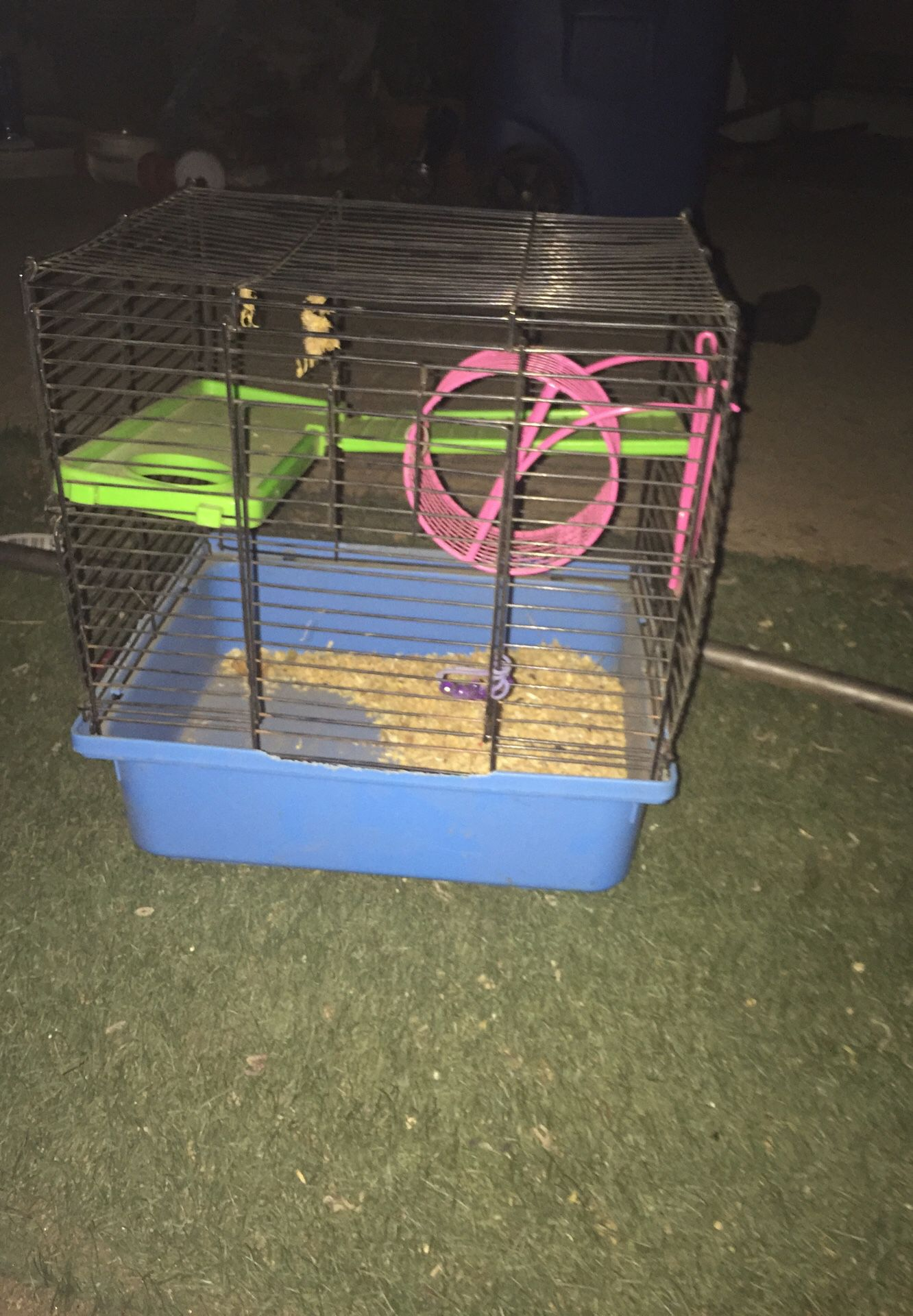 Hamster cage I used it for a hamster but it passed away so I decided to sell it bitten on the blue part a little bit and dirty but will clean if you