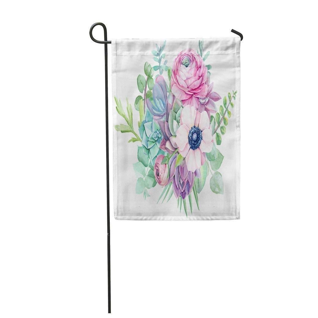 Pink Love Succulents Ranunculus and Eucalyptus Anemone Floral Watercolor Garden Flag Decorative Flag House Banner 28x40