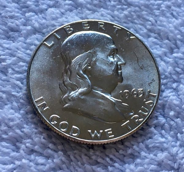 "STUNNING 1963-D BU NEAR GEM ""BLAST WHITE"" 90% UNC  SILVER FRANKLIN HALF  DOLLAR - FBL for Sale in Bensalem, PA - OfferUp"