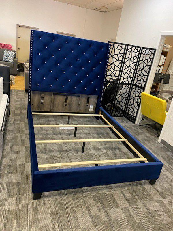 Blue Velvet Queen Size Bed Frame