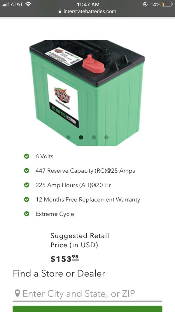 6 Volt Interstate Deep Cycle Batteries Qty  4 (Rv, Solar, Marine, Golf Cart  for Sale in Los Angeles, CA - OfferUp