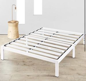 Photo New, Mellow Rocky Base E 14 Platform Bed Heavy Duty Steel White, w/ Patented Wide Steel Slats (No Box Spring Needed) - Queen