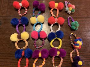 Handmade Party Favors Rainbow Loom with Poms Poms Bracelets/Hair ties for Sale in Tustin, CA