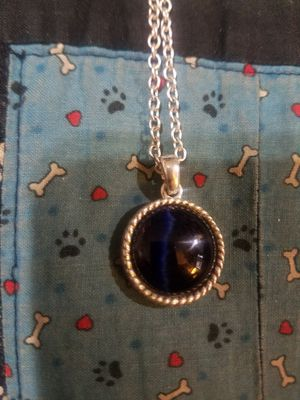 Photo 925 Silver Beautiful Blue Tigers Eye Pendant on an Extra Long 925 Silver Chain Necklace