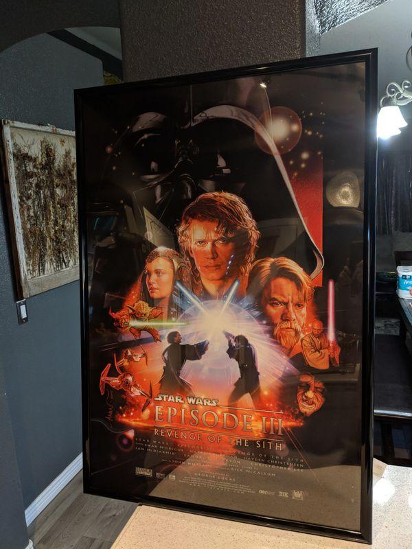 Framed Star Wars Revenge Of The Sith Movie Poster For Sale In Glendale Az Offerup