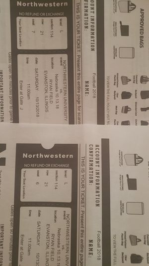 College Football Nortwestern vs Nebraska 10/13/18 11AM for Sale in Nashville, TN