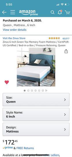 Queen size bed & mattress Thumbnail